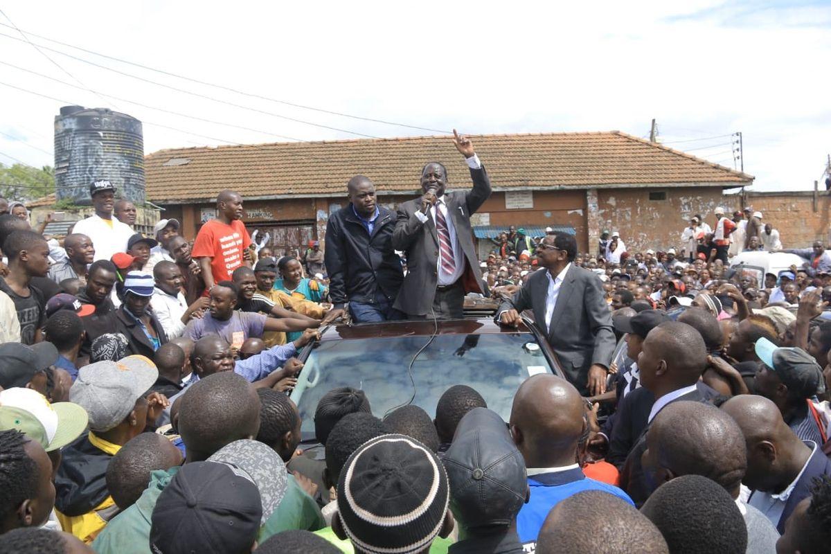 Image result for Raila in Burma Market in Nairobi