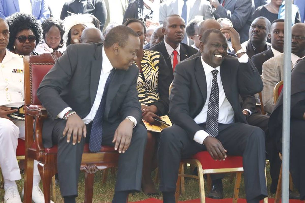 Image result for Ruto and Uhuru share light moments